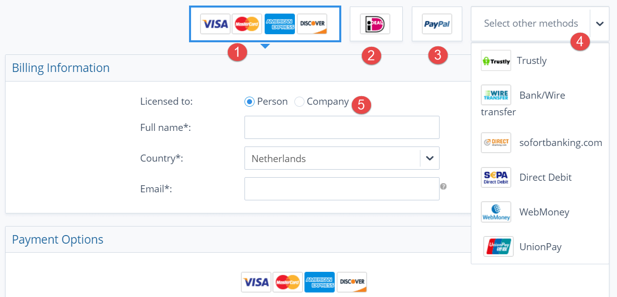 Displaying and explaining the 2Checkout payment options