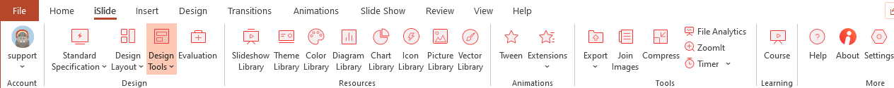 The iSlide add-in integrates fully into the PowerPoint Menu ribbon
