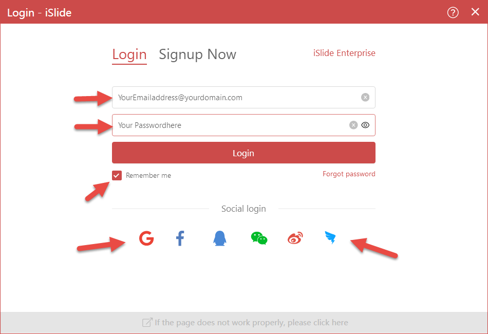 iSlide login screen with all the options