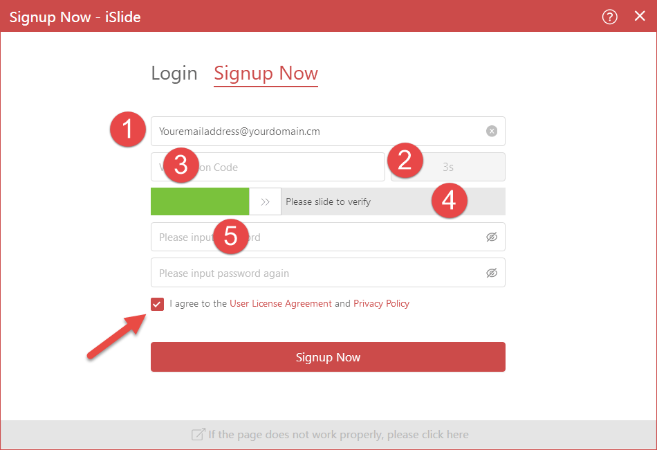 iSlide Signup Now page