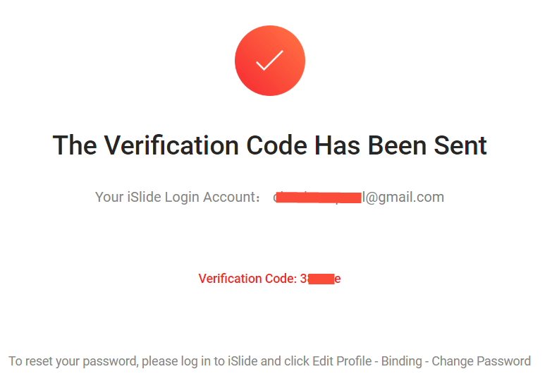 iSlide Email verification example